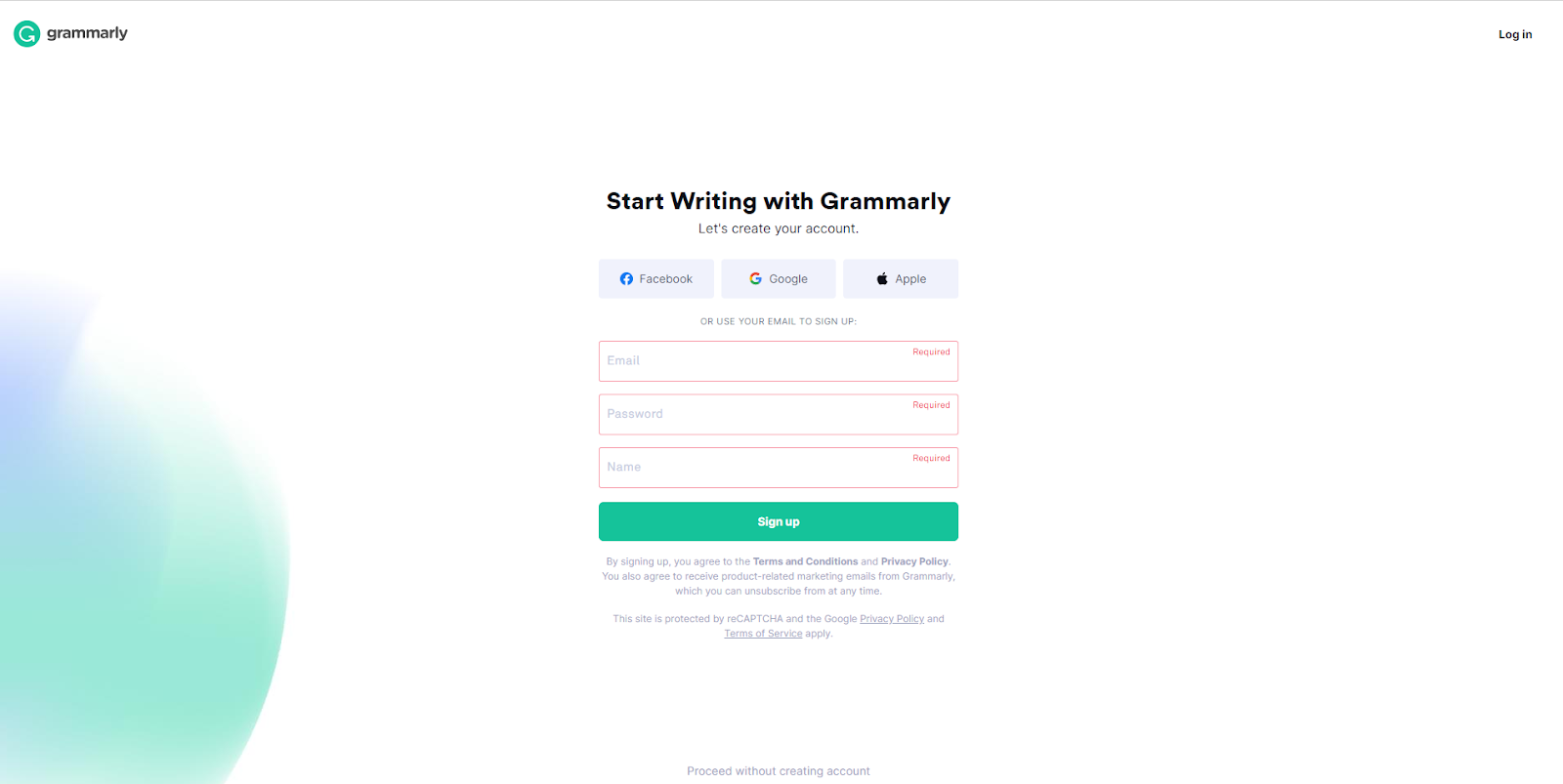 Signup to Grammarly