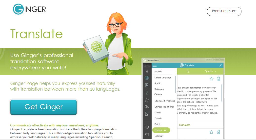 ginger translation software